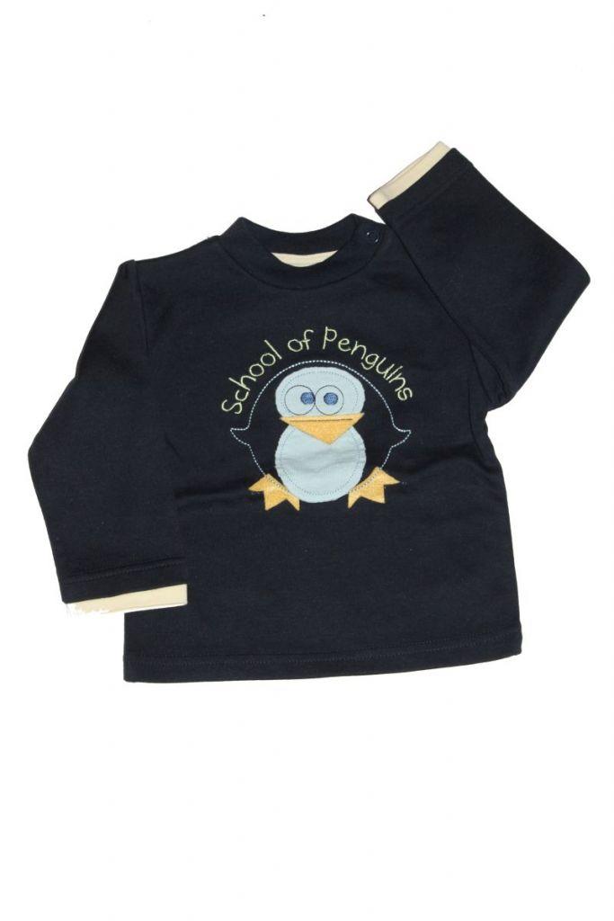 Pingvin mintás baba hosszú ujjú póló - baba felső, póló