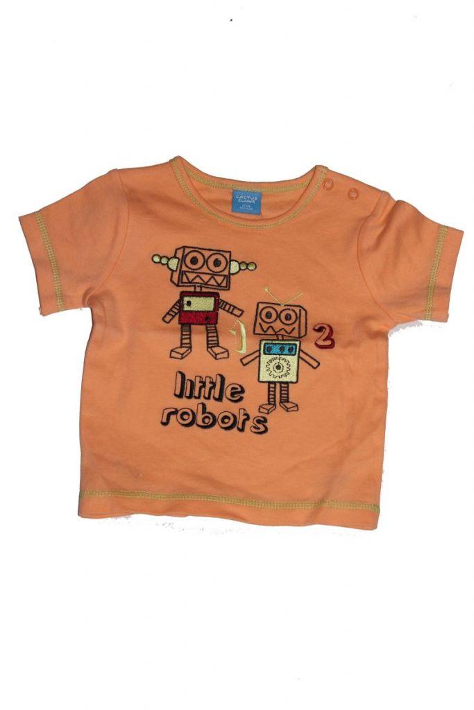 Robot mintás baba póló - baba felső, póló