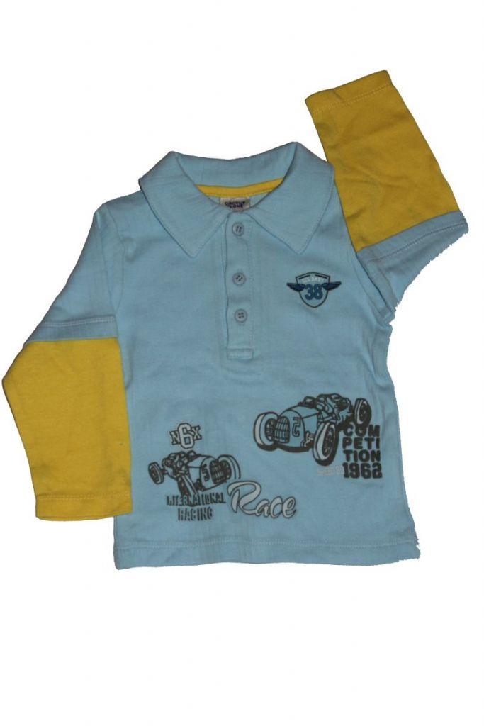 Autó mintás hosszú ujjú baba póló - baba felső, póló