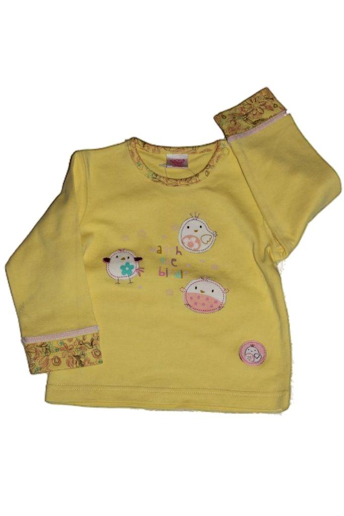 Madár mintás hosszú ujjú baba póló - baba felső, póló