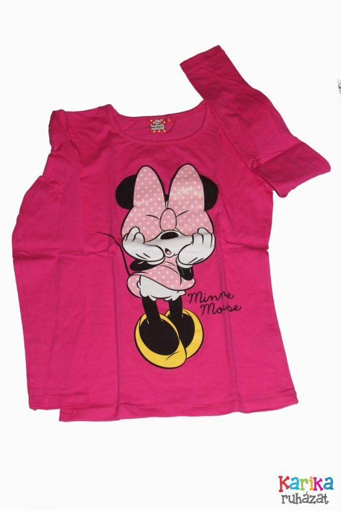 Minnie egér mintás lány hosszú ujjú póló - lány felső, póló