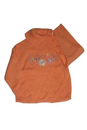 Virág mintás kötött pulóver - lány pulóver, mellény